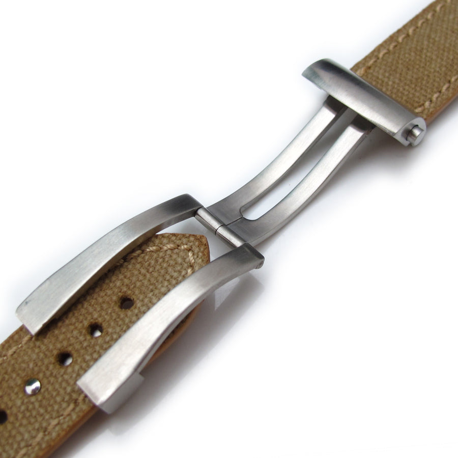 20mm, 21mm, 22mm MiLTAT Khaki Washed Canvas Roller Deployant Watch Band, Beige Stitching