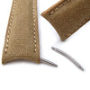 20mm, 21mm, 22mm MiLTAT Khaki Washed Canvas Roller Deployant Watch Band, Beige Stitching - Strapcode