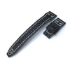 22mm MiLTAT Black Pull Up Italian Leather IWC Big Pilot replacement Strap, Rivet Lug