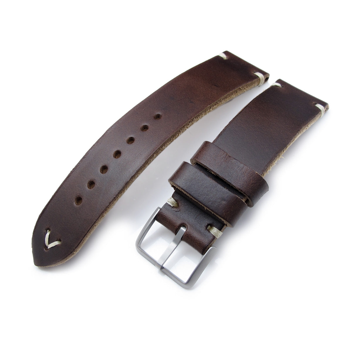 20mm 22mm MiLTAT Horween Chromexcel Watch Strap Matte Brown Beige Stitching Strapcode Watch Bands
