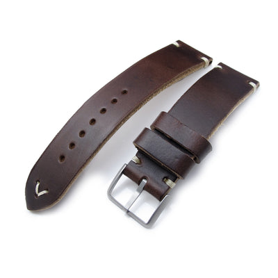 20mm, 22mm MiLTAT Horween Chromexcel Watch Strap, Matte Brown, Beige Stitching - Strapcode