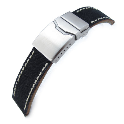 22mm MiLTAT Black Canvas Watch Strap Brushed Button Chamfer Clasp, Beige Wax Hand Stitches