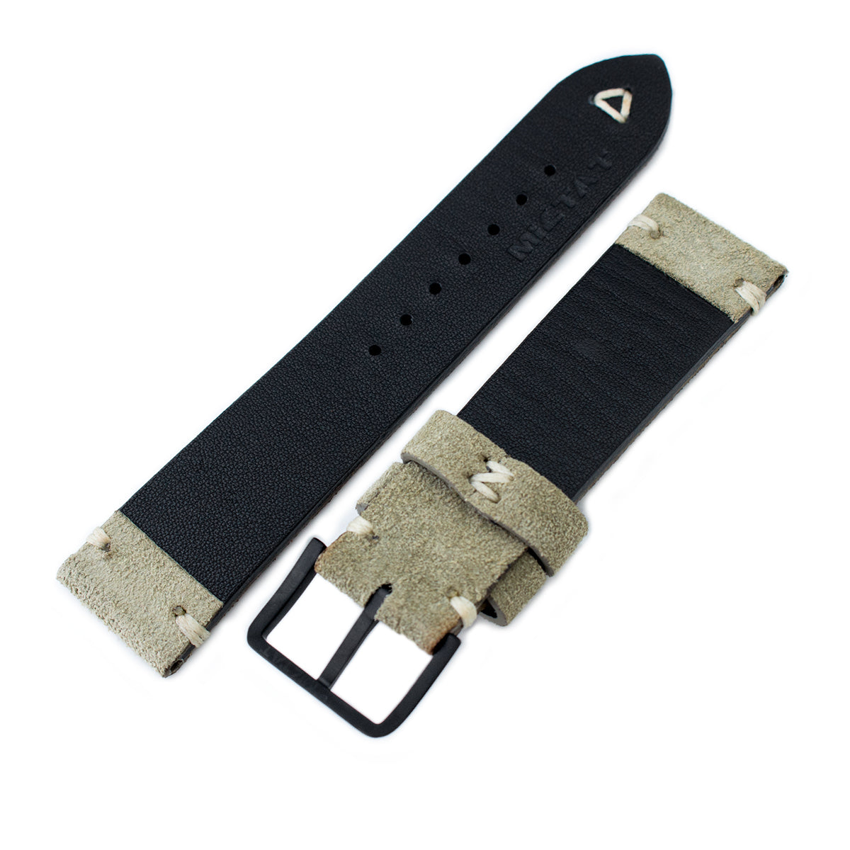 20mm 21mm 22mm MiLTAT Grey Green Genuine Nubuck Leather Watch Strap Beige Stitching PVD Buckle Strapcode Watch Bands