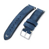 20mm, 21mm, 22mm MiLTAT Navy Blue Genuine Nubuck Leather Watch Strap, Beige Stitching, Sandblasted Buckle - Strapcode