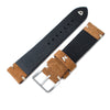 20mm, 21mm, 22mm MiLTAT Saddle Brown Genuine Nubuck Leather Watch Strap, Beige Stitching, Sandblasted Buckle - Strapcode