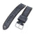 20mm, 21mm, 22mm MiLTAT Dark Grey Genuine Nubuck Leather Watch Strap, Beige Stitching, Sandblasted Buckle