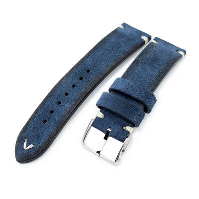 20mm, 21mm, 22mm MiLTAT Navy Blue Genuine Nubuck Leather Watch Strap, Beige Stitching, Polished Buckle - Strapcode