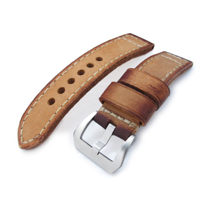 22mm MiLTAT Handmade Vintage Tan Calf Leather Watch Band, Hand Painted, Hand Stitches