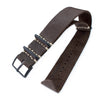 20mm or 22mm MiLTAT G10 Grezzo NATO Watch Strap, D. Brown Leather Extra Soft, PVD Black - Strapcode