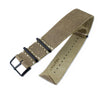 20mm or 22mm MiLTAT G10 Grezzo NATO Watch Strap, Olive Green Distressed Leather Extra Soft, PVD Black - Strapcode