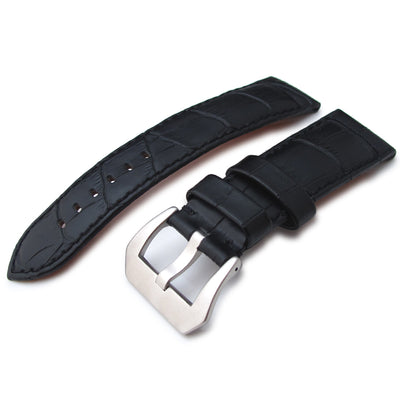 24mm CrocoCalf (Croco Grain) Matte Black Watch Strap with Black Stitches