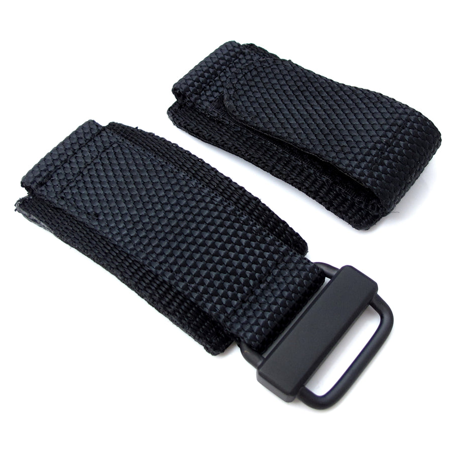 MiLTAT Honeycomb Black Nylon Velcro Fastener Watch Strap for Bell & Ross BR01, PVD Black Buckle - Strapcode