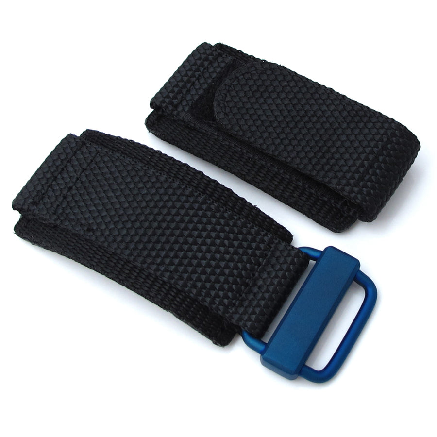 MiLTAT Honeycomb Black Nylon Velcro Fastener Watch Strap for Bell & Ross BR01, IP Blue Buckle - Strapcode