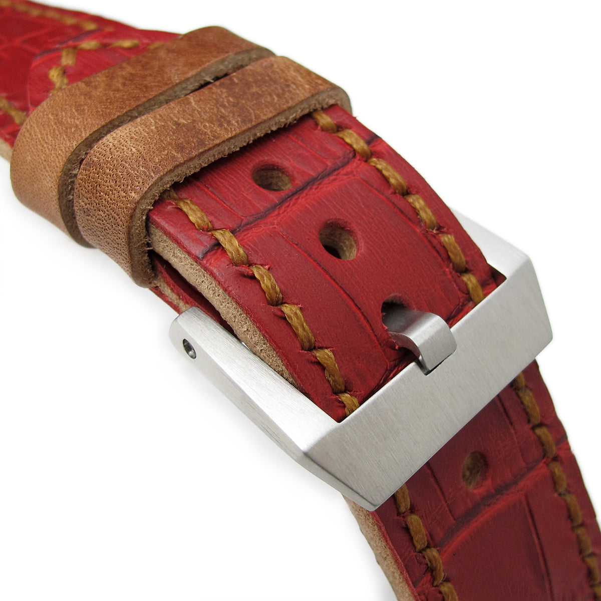 24mm MiLTAT Antipode Watch Strap Matte Red CrocoCalf in Tan Hand Stitches Strapcode Watch Bands