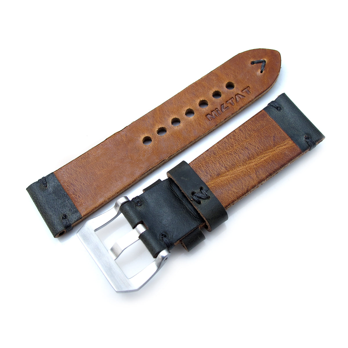 24mm MiLTAT Horween Chromexcel Watch Strap Blackish Green Grey Stitching Strapcode Watch Bands