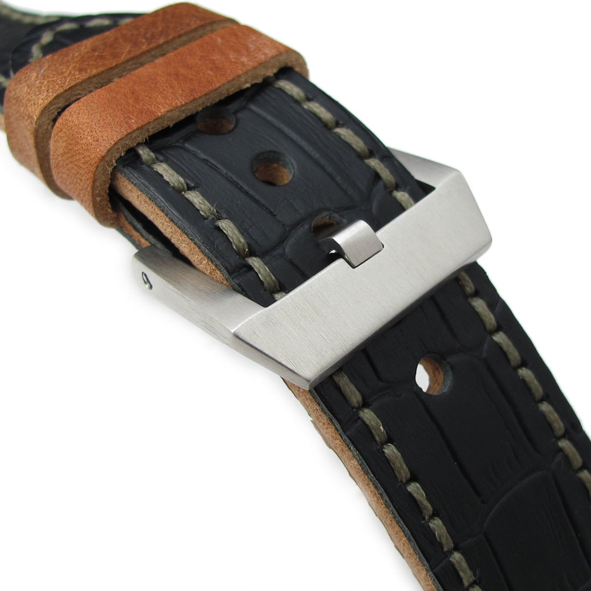 24mm MiLTAT Antipode Watch Strap Matte Black CrocoCalf in Grey Hand Stitches Strapcode Watch Bands