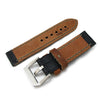 24mm MiLTAT Antipode Watch Strap Matte Black CrocoCalf in Grey Hand Stitches