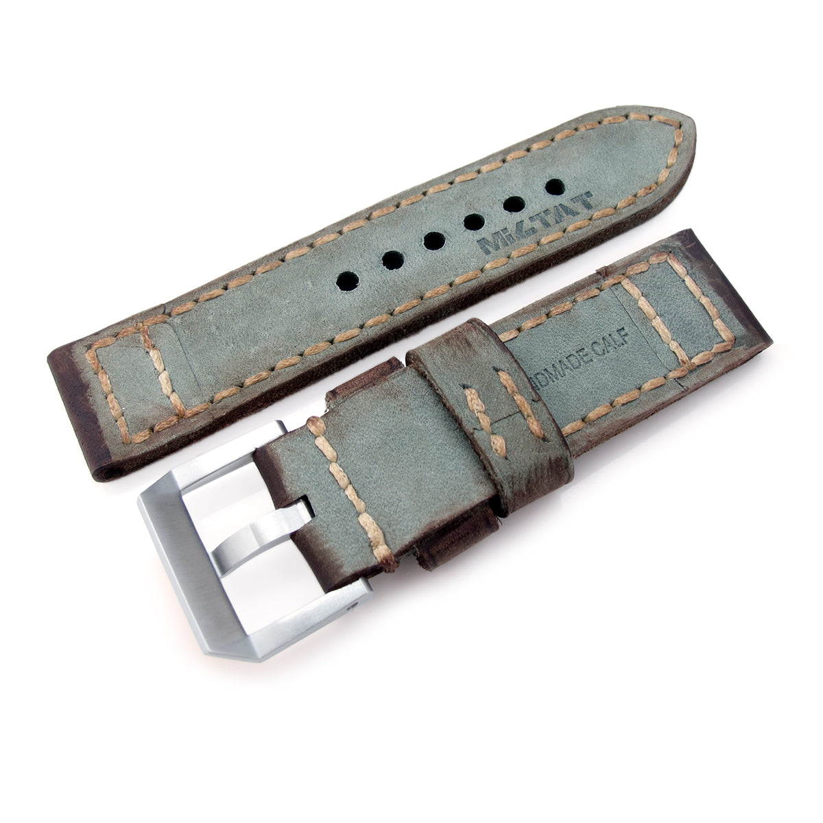 24mm MiLTAT Handmade Vintage Green Calf Leather Watch Band Hand Painted Hand Stitches Strapcode Watch Bands