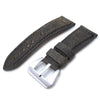 26mm MiLTAT Destroyed Vintage Brown Leather Watch Strap, Black Stitching