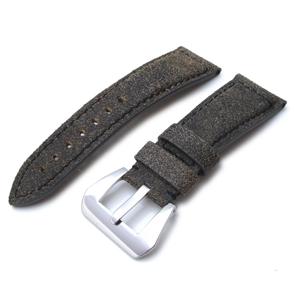 26mm MiLTAT Destroyed Vintage Brown Leather Watch Strap Black Stitching Strapcode Watch Bands