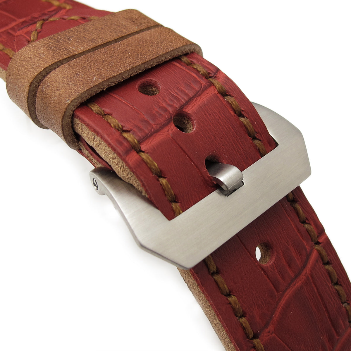 26mm MiLTAT Antipode Watch Strap Matte Red CrocoCalf in Tan Hand Stitches Strapcode Watch Bands