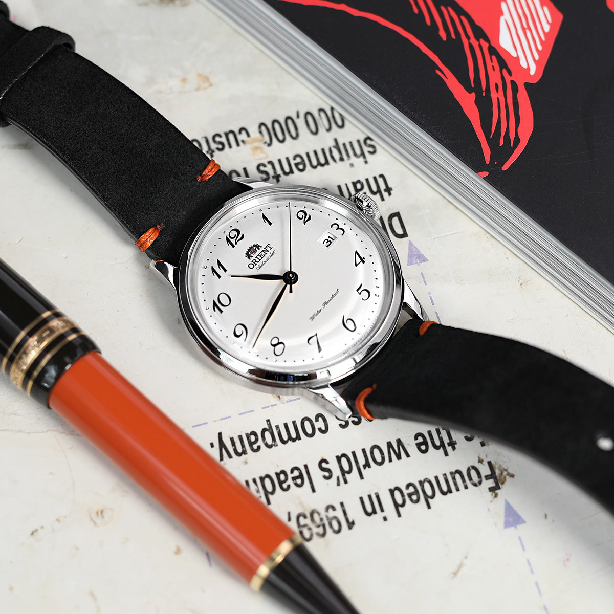 21mm Black Quick Release Italian Suede Leather Watch Strap Orange St. Strapcode Watch Bands