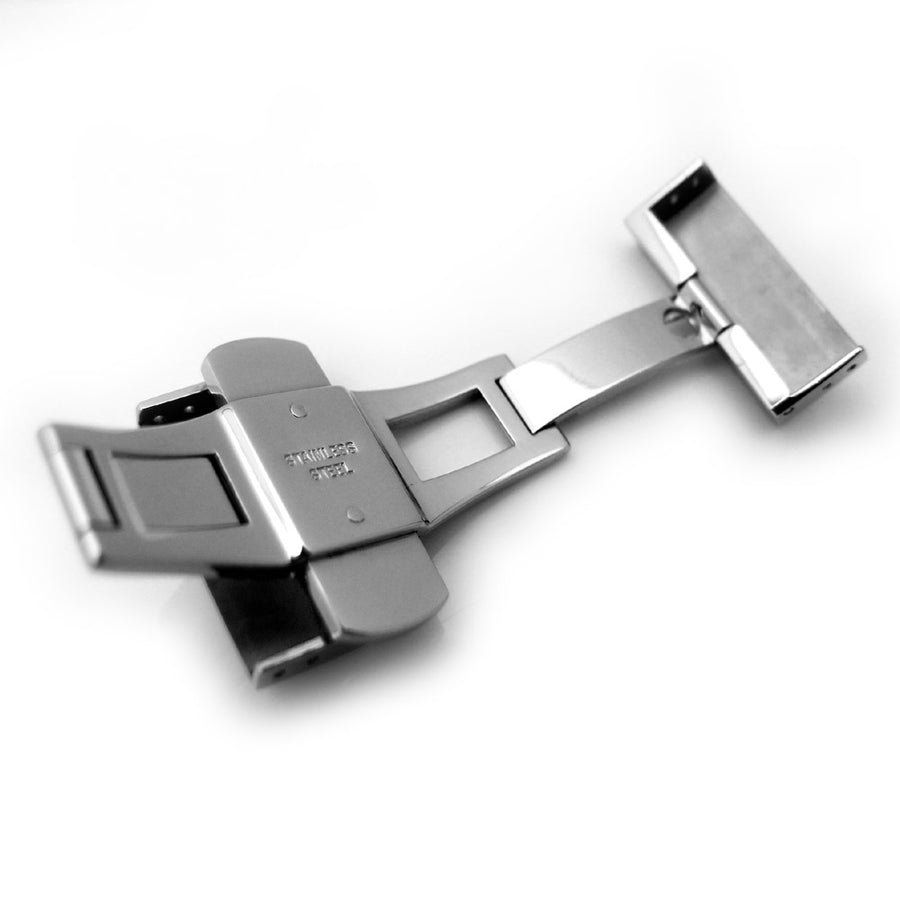 20mm, 22mm, 24mm Deployment Buckle / Clasp, Polished Stainless Steel with Release Button