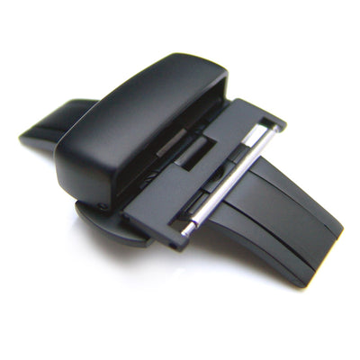 20mm, 22mm, 24mm Deployment Buckle / Clasp, PVD Black Stainless Steel for Leather Strap
