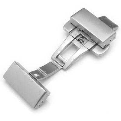 20mm, 22mm Deployment Buckle / Clasp, Sandblast Stainless Steel with Release Button - Strapcode