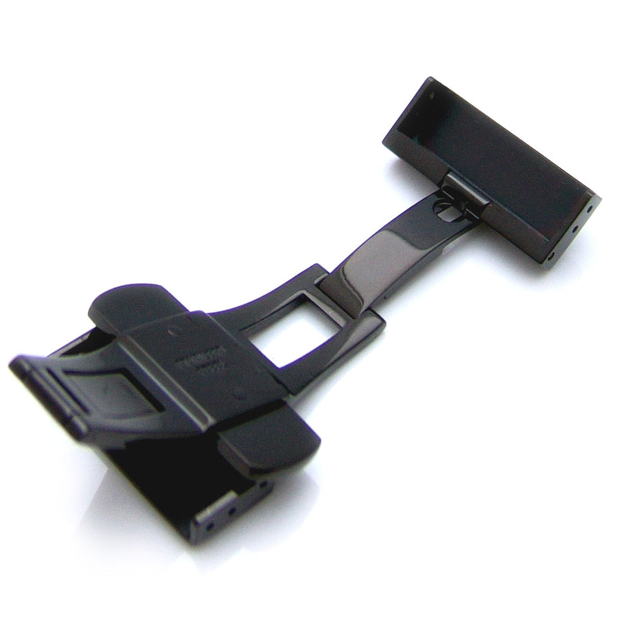 20mm, 22mm, 24mm Deployment Buckle / Clasp, IP Polish Black Stainless Steel with Release Button