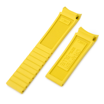 20mm Crafter Blue - Yellow Rubber Curved Lug Watch Band for Seiko MM300 Prospex Marinemaster SBDX001 - Strapcode
