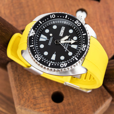 22mm Crafter Blue - Yellow Rubber Curved Lug Watch Band for Seiko Turtle SRP777 - Strapcode