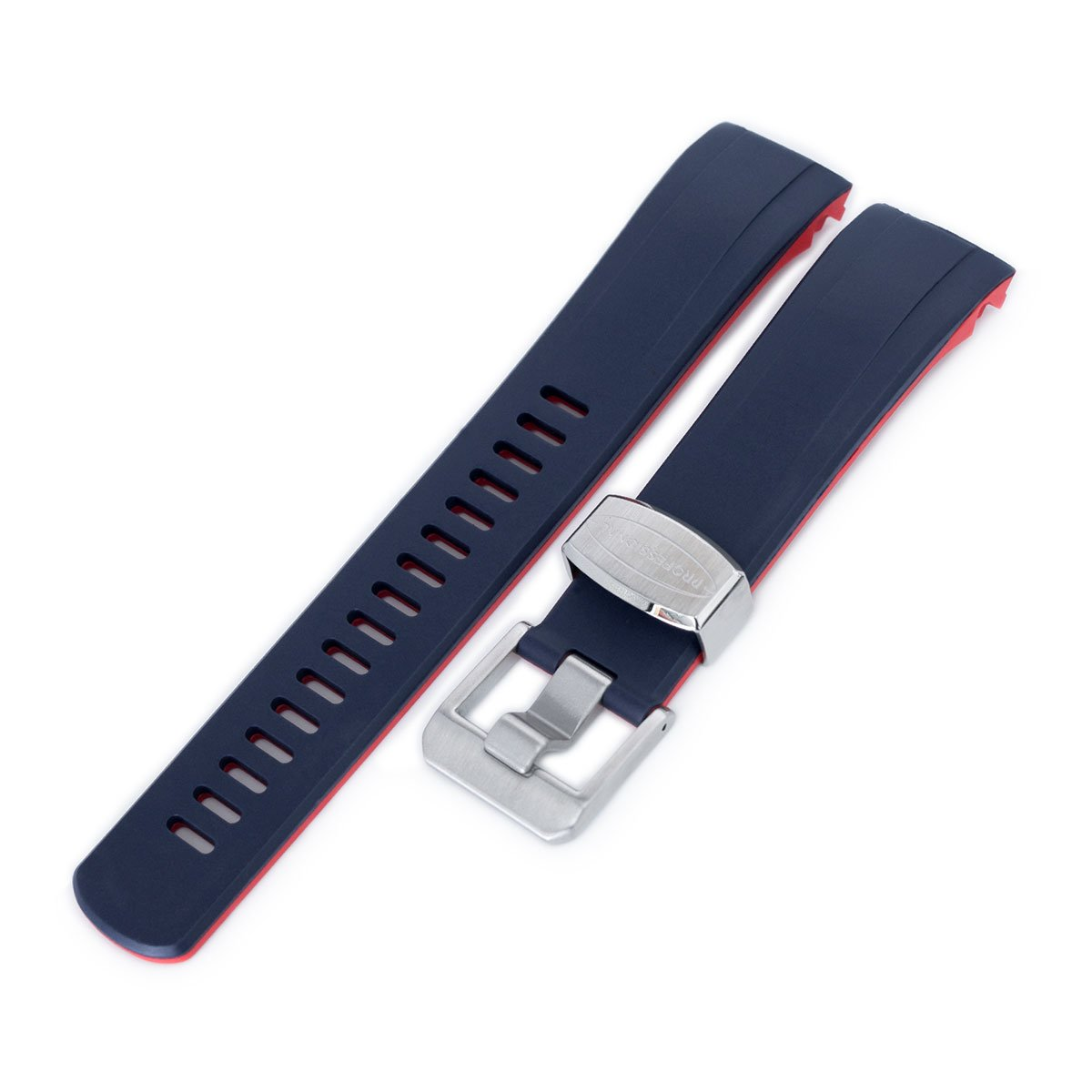 22mm Crafter Blue Dual Color Blue & Red Rubber Curved Lug Watch Strap for Seiko Samurai SRPB51 Strapcode Watch Bands