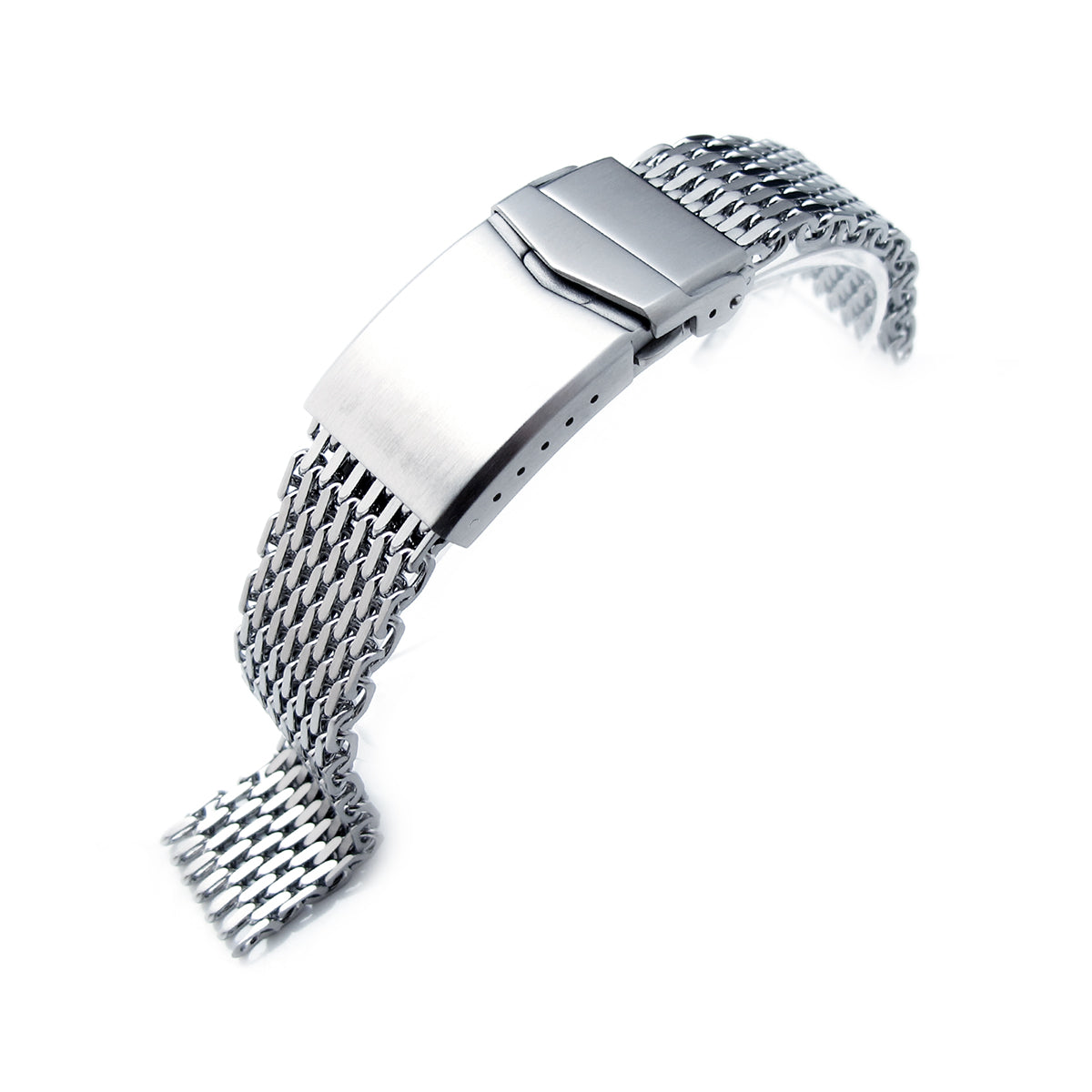 17mm 18mm Ploprof 316 Reform Stainless Steel SHARK Mesh Watch Band V-Clasp Button Double Lock B Strapcode Watch Bands