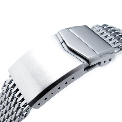 17mm, 18mm Ploprof 316 Reform Stainless Steel SHARK Mesh Watch Band, V-Clasp Button Double Lock , B - Strapcode