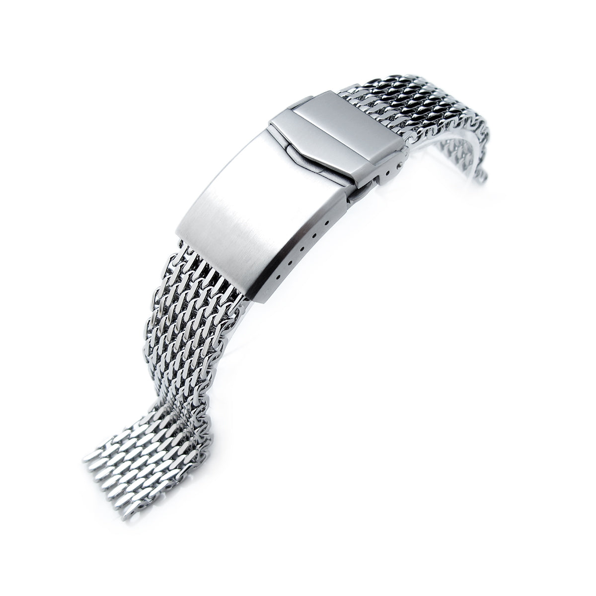 17mm 18mm Ploprof 316 Reform Stainless Steel SHARK Mesh Watch Band V-Clasp Button Double Lock P Strapcode Watch Bands