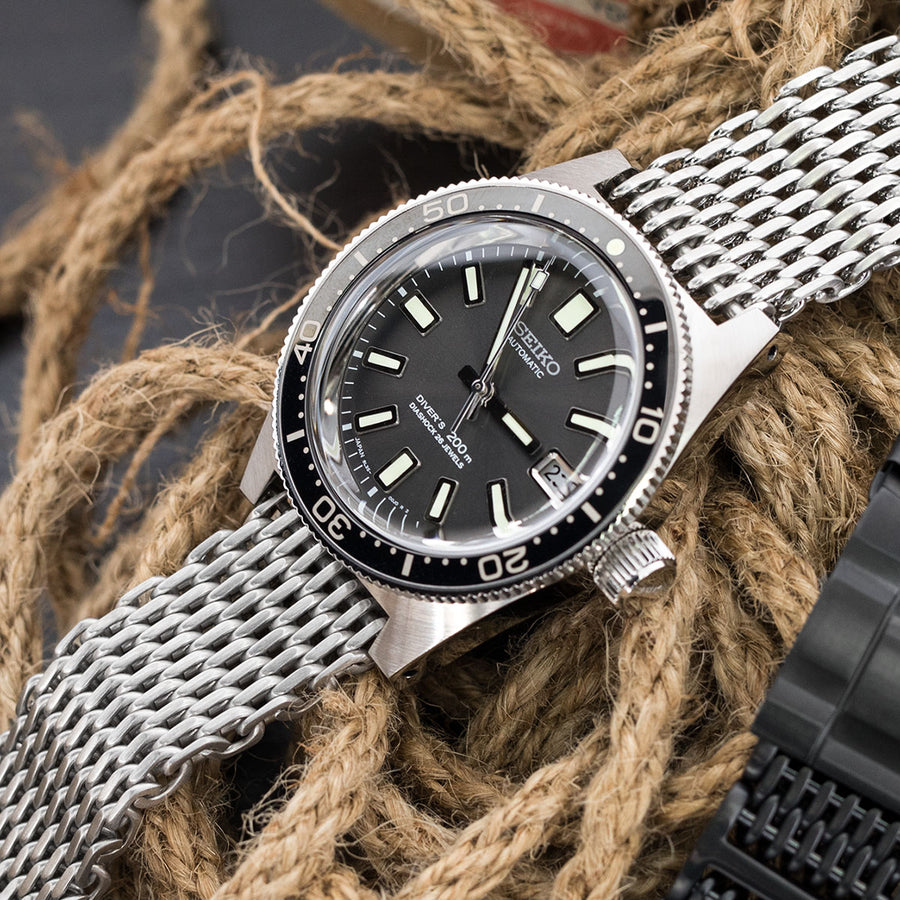 19mm or 20mm Flexi Ploprof 316 Reform SHARK Mesh Band, 316L Stainless Steel, Submariner Diver Clasp, B - Strapcode