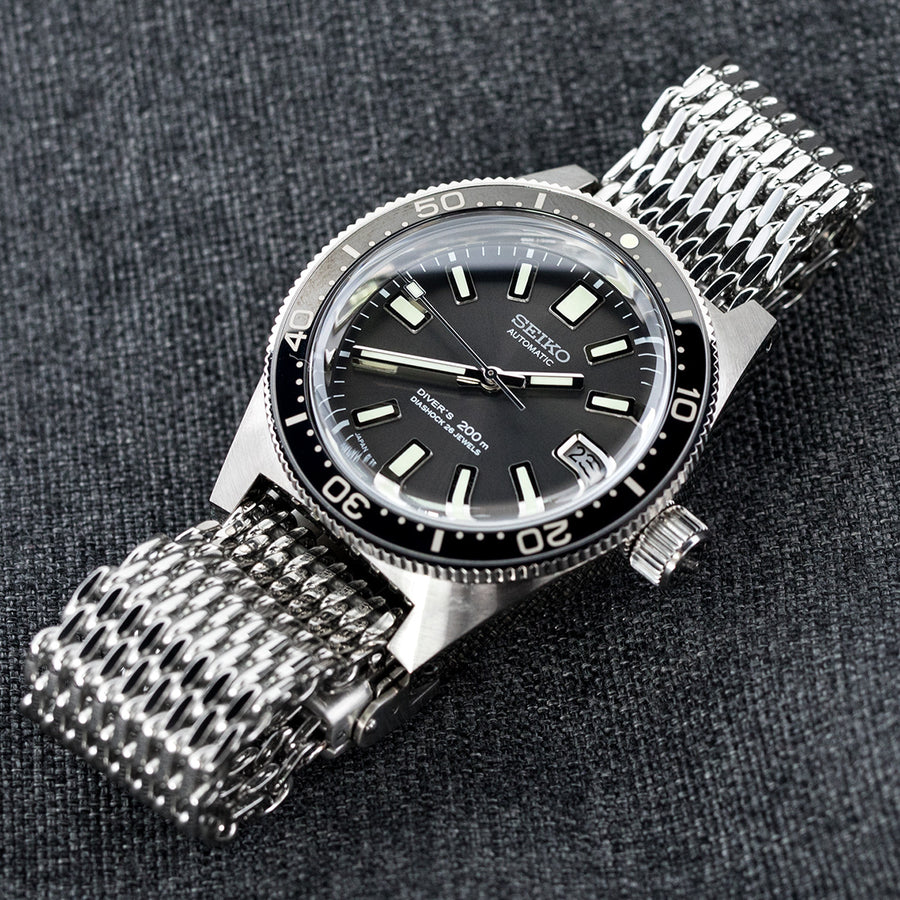19mm, 20mm Ploprof 316 Reform Stainless Steel SHARK Mesh Watch Band, Submariner Diver Clasp, Polished - Strapcode