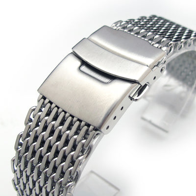 21mm or 22mm Ploprof 316 Reform Stainless Steel SHARK Mesh Watch Band Diver Strap B - Strapcode