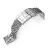 17mm, 18mm Ploprof 316 Reform Stainless Steel SHARK Mesh Watch Band, SUB Diver Clasp, Brushed - Strapcode