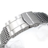 19mm, 20mm Ploprof 316 Reform Stainless Steel SHARK Mesh Watch Band, Submariner Diver Clasp, Brushed - Strapcode