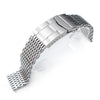 17mm, 18mm Ploprof 316 Reform Stainless Steel SHARK Mesh Watch Band, SUB Diver Clasp, Polished - Strapcode
