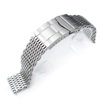 17mm, 18mm Ploprof 316 Reform Stainless Steel SHARK Mesh Watch Band, Submariner Diver Clasp, Polished - Strapcode