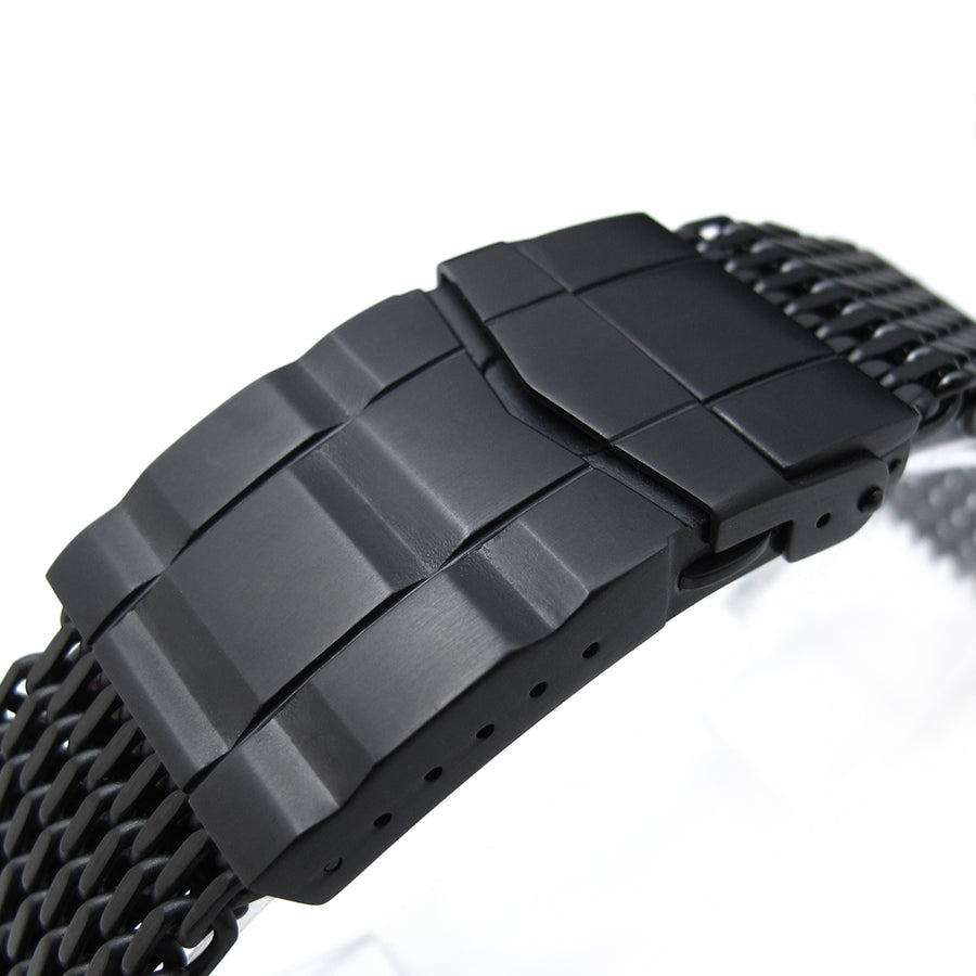 18mm Ploprof 316 Reform Stainless Steel SHARK Mesh Watch Band, SUB Diver Clasp, PVD - Strapcode
