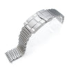 17mm, 18mm Ploprof 316 Reform Stainless Steel SHARK Mesh Watch Band, SUB Diver Clasp, Sandblasted - Strapcode