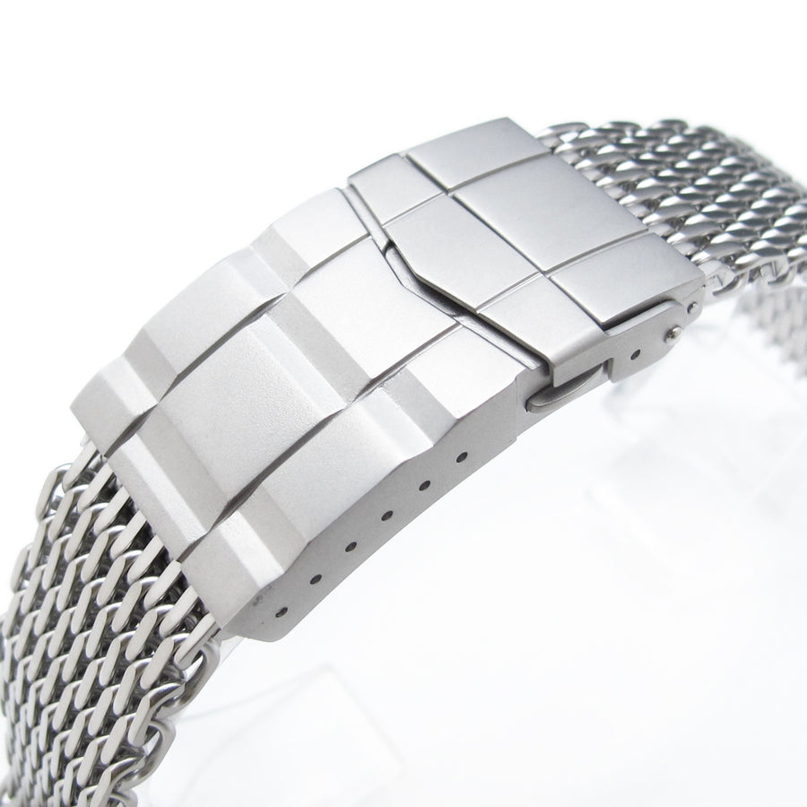 17mm, 18mm Ploprof 316 Reform Stainless Steel SHARK Mesh Watch Band, Submariner Diver Clasp, Sandblasted - Strapcode