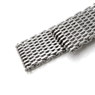 19mm, 20mm, 21mm or 22mm Flexi Ploprof 316 Reform SHARK Mesh Band, Brushed 316L Stainless Steel - Strapcode