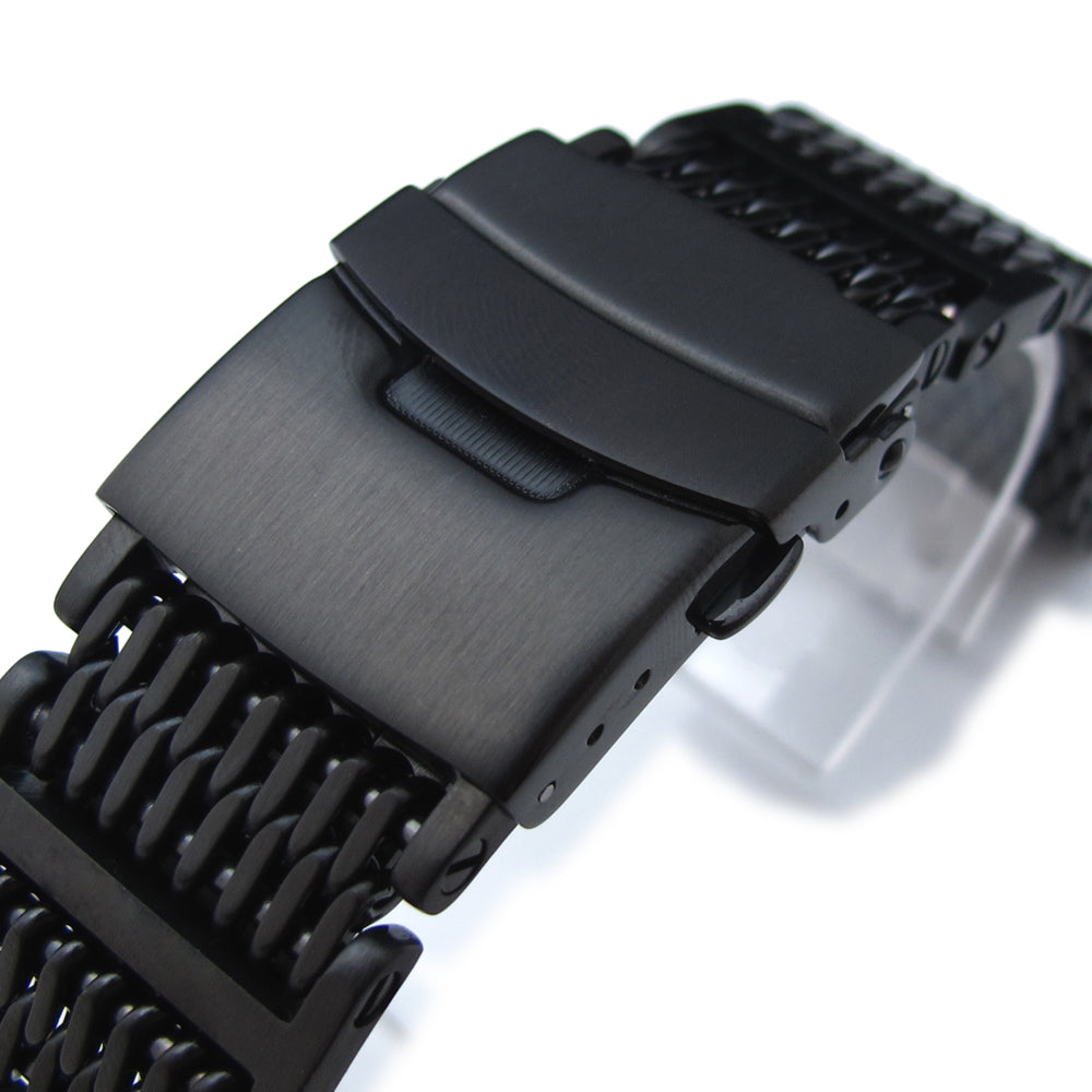 20mm or 22mm Flexi Ploprof 316 Reform SHARK Mesh Band PVD Black 316L Stainless Steel Strapcode Watch Bands