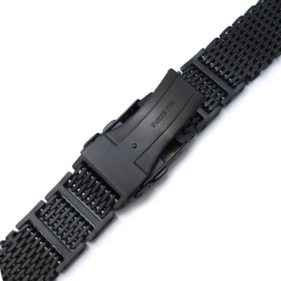 20mm or 22mm Flexi Ploprof 316 Reform SHARK Mesh Band, PVD Black 316L Stainless Steel - Strapcode