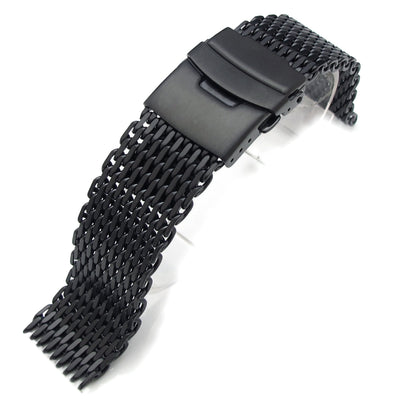 22mm Ploprof 316 Reform Stainless Steel SHARK Mesh Watch Band Diver Strap, PVD Black - Strapcode